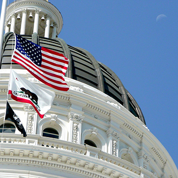 Top of Capitol Building with American Flag flying