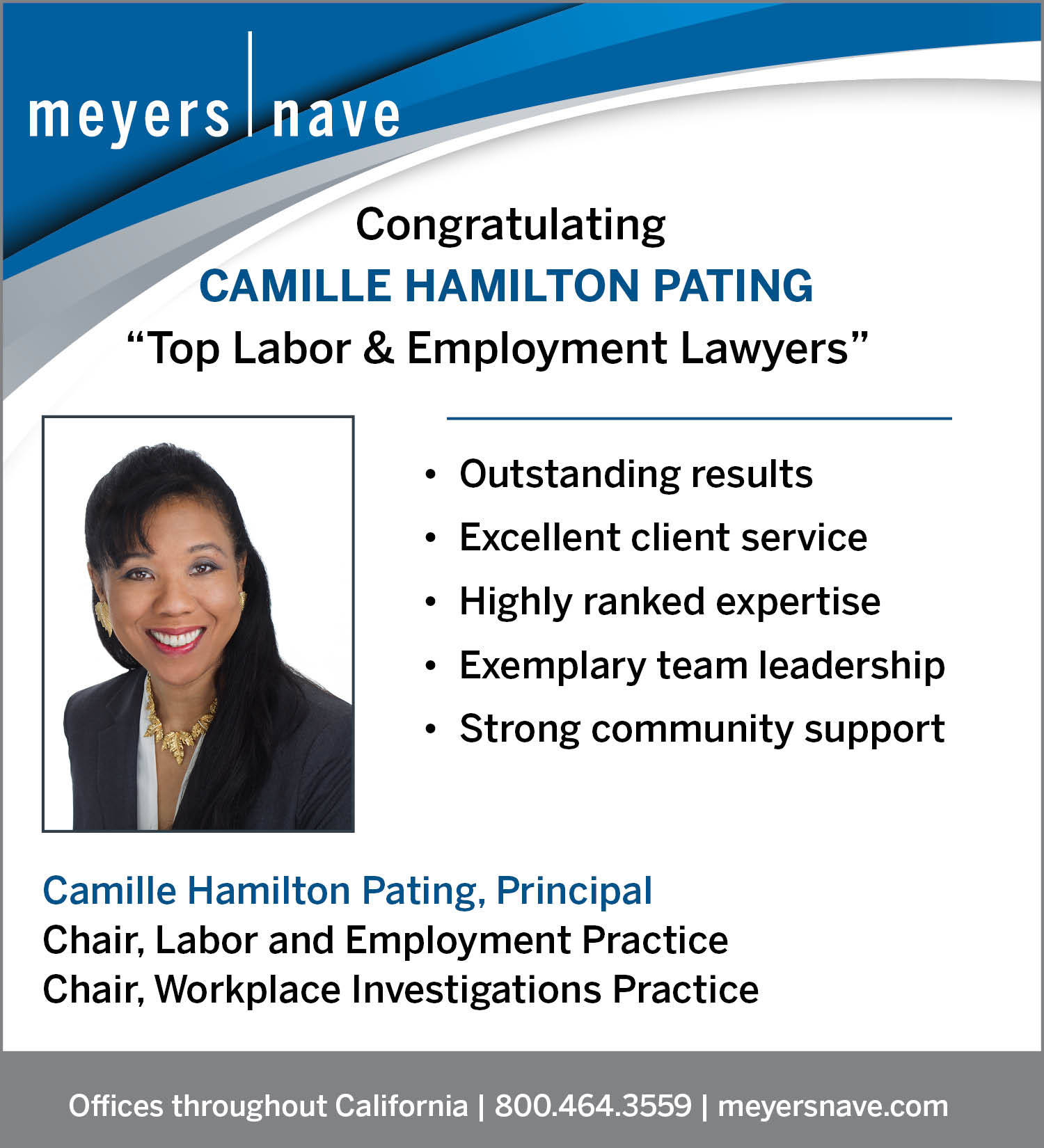 congratulatory ad for Camille Hamilton Pating in Daily Journal