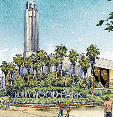Drawing of Hollywood Park entrance sign and people walking around