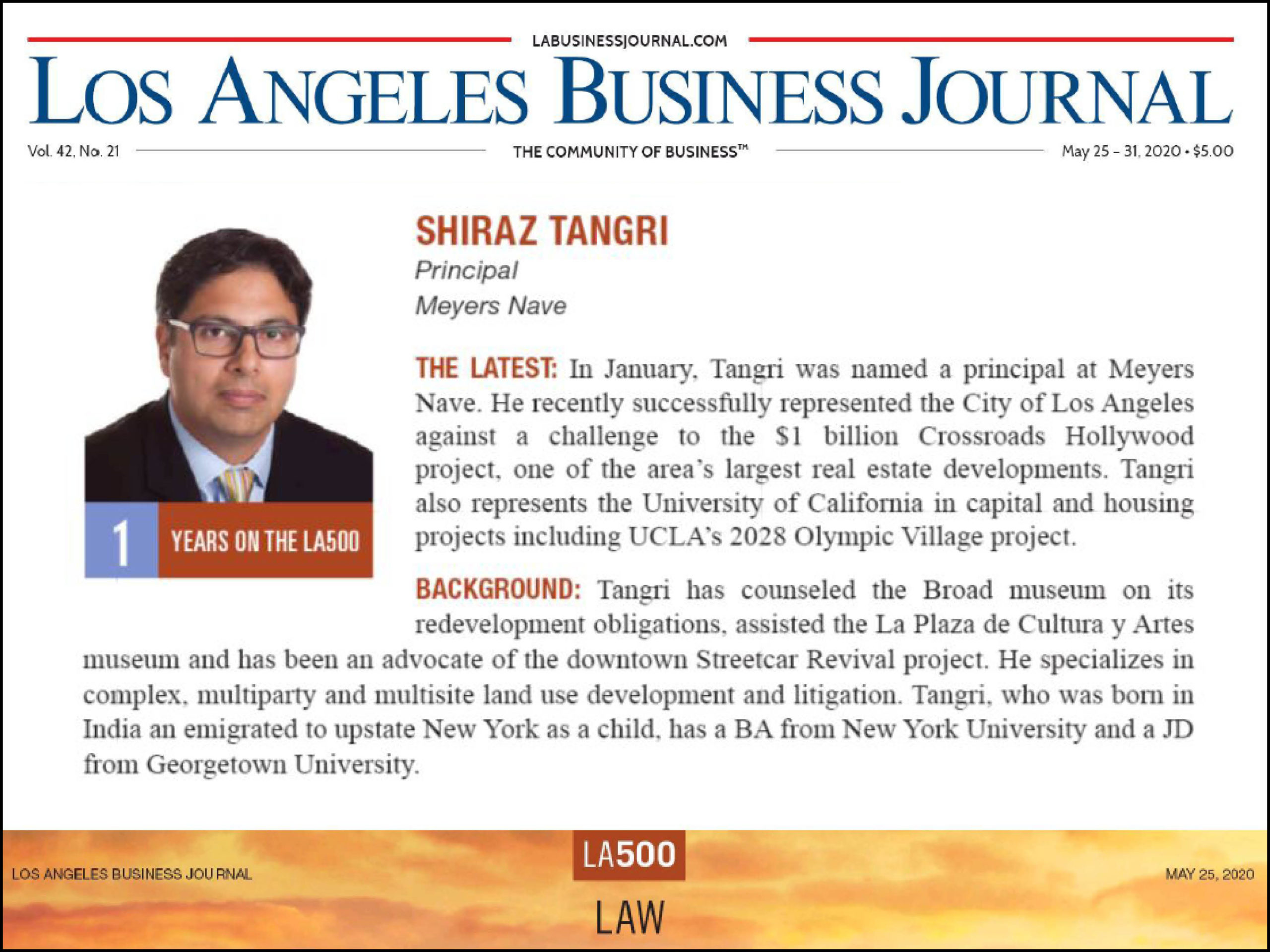 LA 500 Shiraz Tangri Nomination