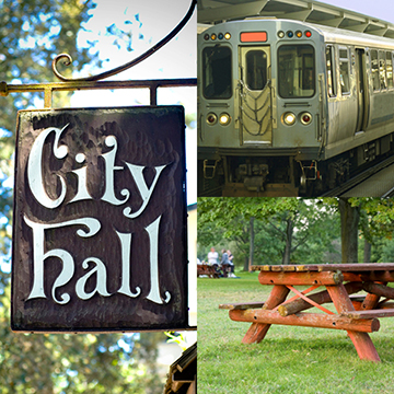 Collage of City Hall Sign, Public Transportation Train and Picnic Table