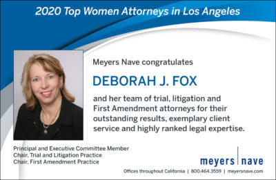 "Print Ad style of graphic for Deborah Fox Selected Among the ""Top Women Attorneys"" in Los Angeles Business Journal"