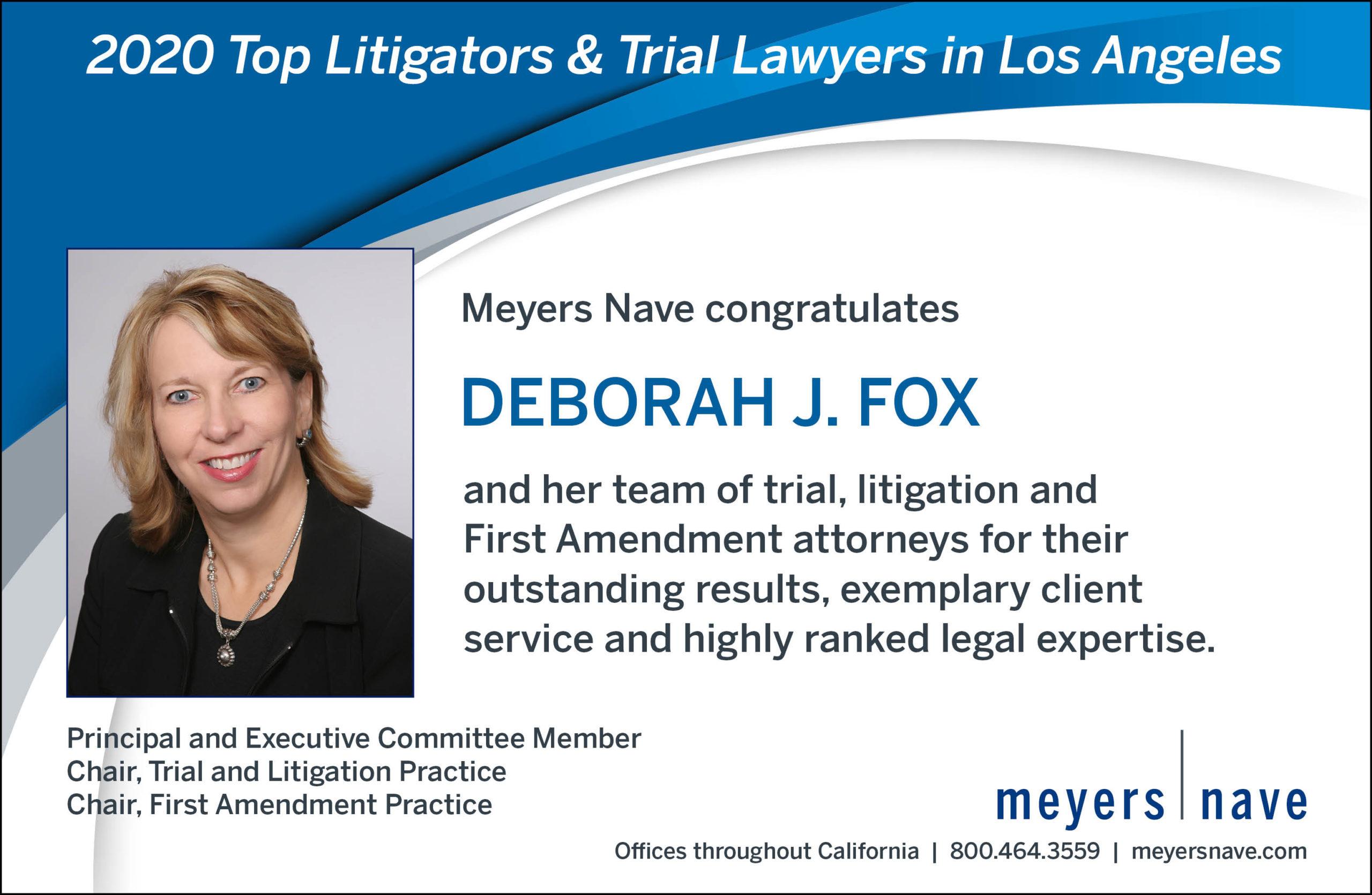 Deborah Fox Award Top Litigators and Trial Lawyers 2020